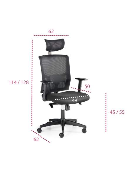 Medidas silla oficina viena de euromof ergonomica