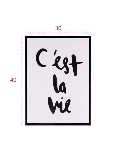 """Medidas cuadro decorativo con frase en francés """"c'est la vie"""" de somcasa"""