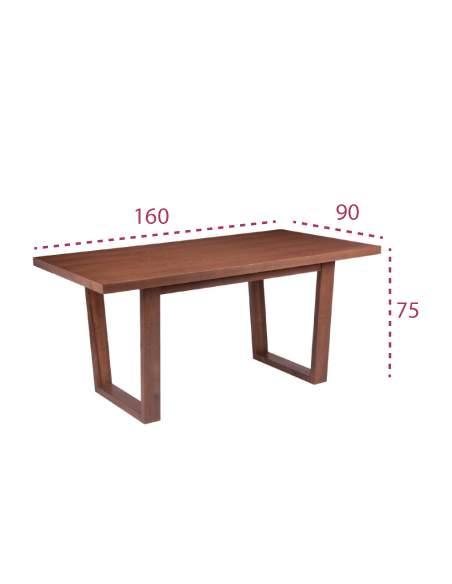 Medidas mesa comedor rectangular amber-april de 160 x 90 cm.