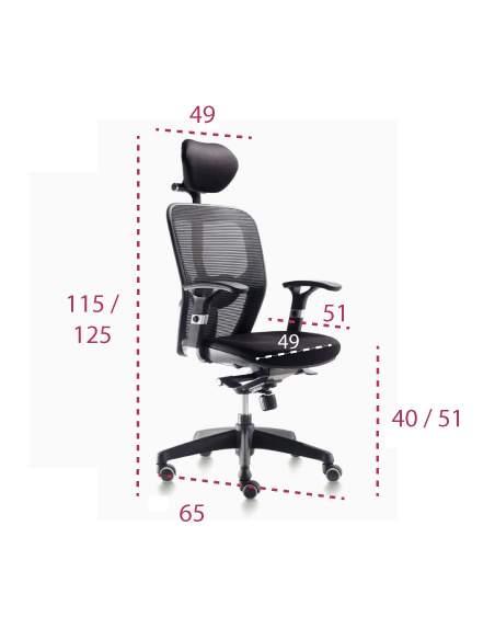 Medidas silla ergonómica Boston con cabezal de euromof
