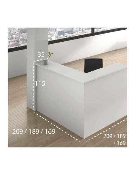 Medidas mostrado de recepción en L enter con mesa de Iman