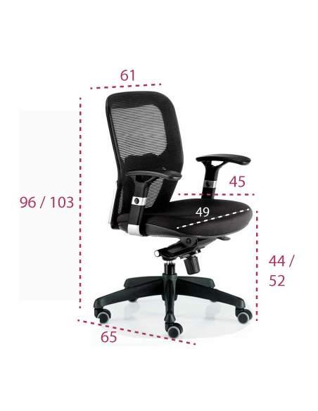 Medidas silla de trabajo ergonómica Boston de Euromof