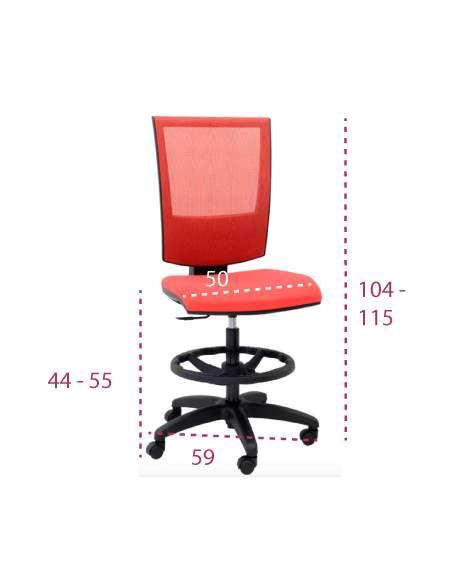 Medidas taburete con respaldo y ruedas Open Red de Tecno-ofiss