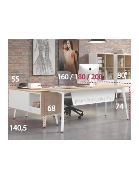 Medidas mesa despacho Organova con mueble auxiliar de iman