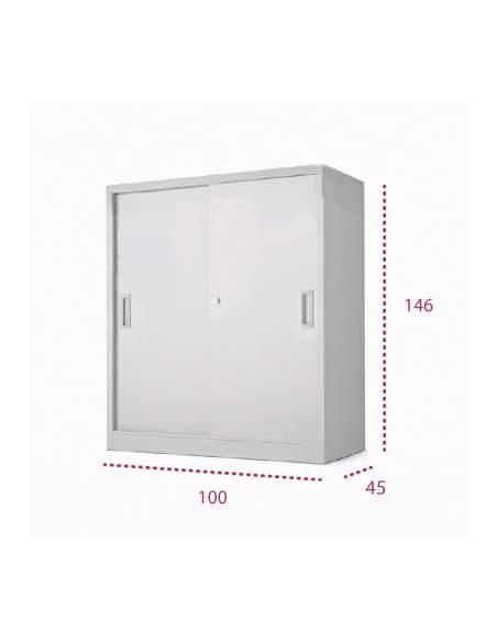 Medidas armario metálico de puerta corredera de 146 cm. de more squared
