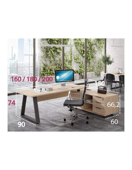 Medidas de la mesa de despacho Piramid con mueble auxiliar de Iman