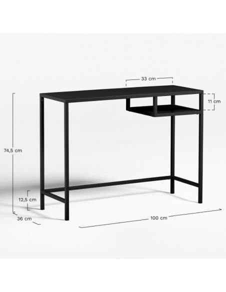 Medidas escritorio industrial Igor de Sklum en color negro