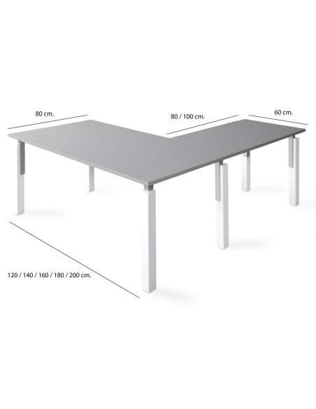 Medidas mesa escritorio en l serie eco