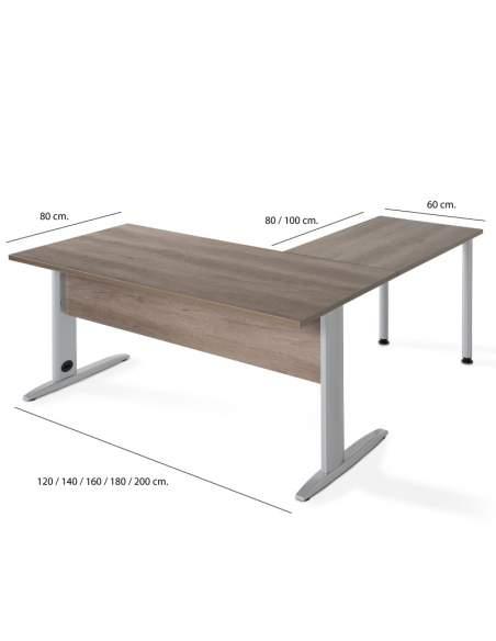 Medidas mesa escritorio esquina Aneto de jgorbe