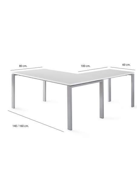 Medidas escritorio en forma de l serie Pórtico con entrega rápida