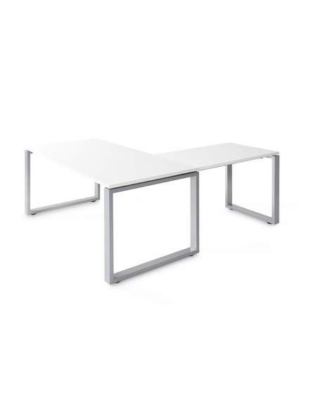 Mesa escritorio esquina Skala con envío express en color blanco