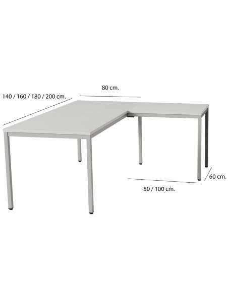 Medidas escritorio esquinero Lite de Kesta