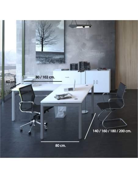 Medidas mesa escritorio esquina Euro 5000 de Euromof con entrega express