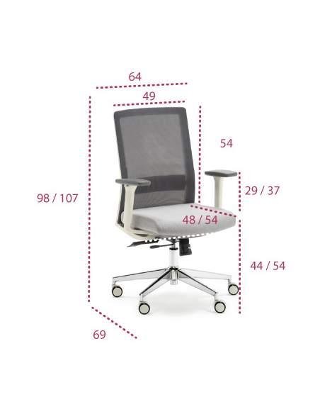 Medidas silla ergonómica XXL Niza de Euromof para personas con sobrepeso