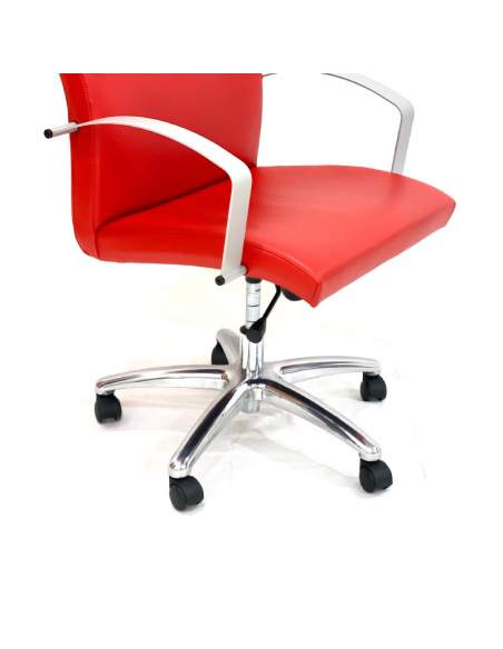 Silla oficina despacho Astor en polipiel roja
