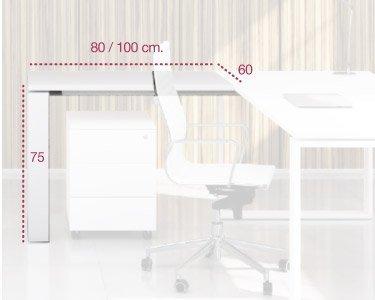 Medidas ala auxiliar para mesa de despacho serie cuadro de aic