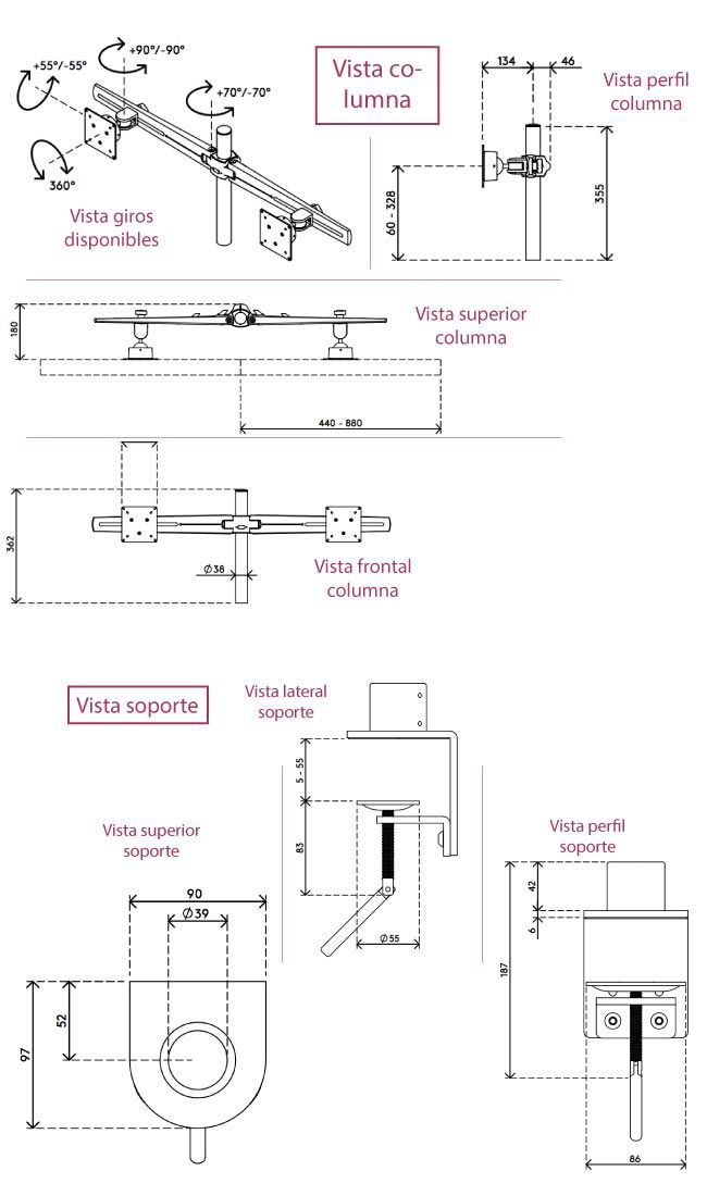 Medidas soporte multipantalla para 2 monitores de ordenador de belsati