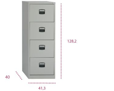 Medidas archivador light 4 cajones metálico pfa de bisley