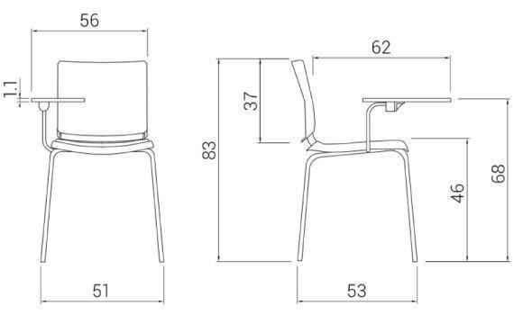 Medidas silla para aula atenea de dileoffice