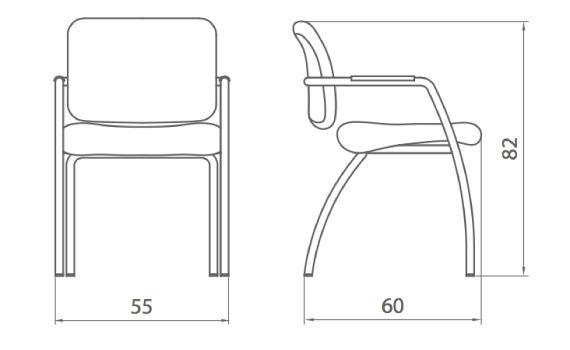 Medidas silla sala de espera urban de dileoffice