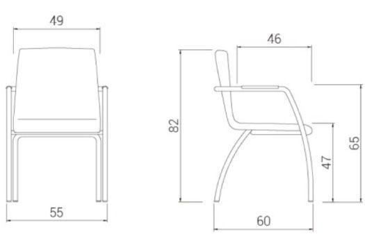 Medidas silla confidente madera custom 4 patas de dileoffice