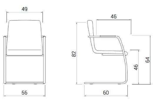 Medidas sillón confidente de madera custom base patín de dileoffice