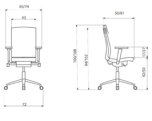 Medidas silla oficina flexa respaldo alto de dileoffice