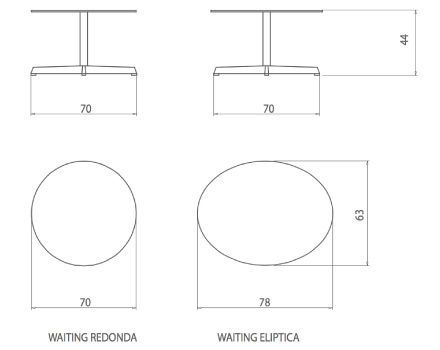 Medidas mesa baja sala de espera Waiting de dileoffice