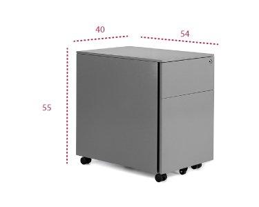 Medidas cajonera metálica 1 cajón + archivo modelo Atenas de Euromof