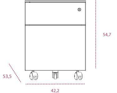 Medidas cajonera metálica 1 cajón y archivo bm2 de gapsa