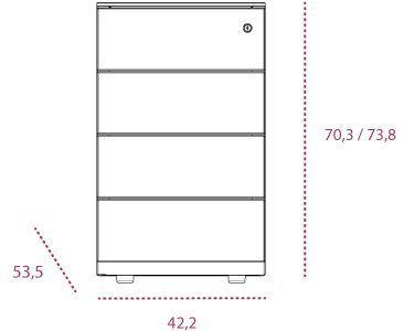 Medidas buc metálico 4 cajones altura mesa
