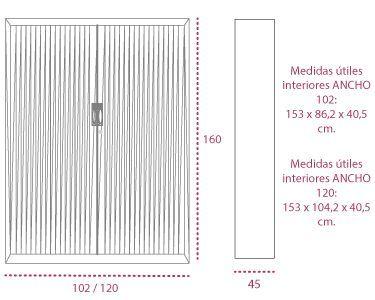 Medidas armarios oficina metálicos de persiana vertical de 160 cm. de gapsa