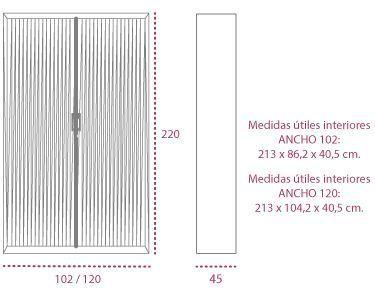 Medidas armarios metálicos persiana vertical de 220 cm. ng de gapsa