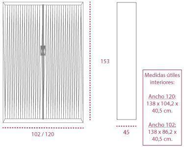Medidas armarios metálicos con ruedas de persiana vertical de 153 cm. roller de gapsa