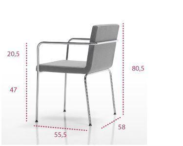 Medidas sillón de oficina con 4 patas aln de inclass