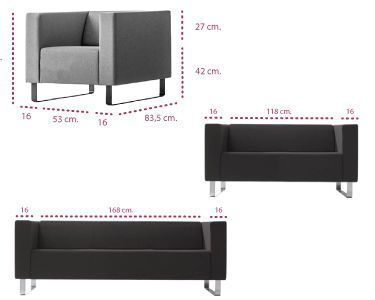 Medidas sofá de oficina Avalon inclass
