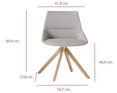 Medidas silla dunas xs con base de madera Inclass