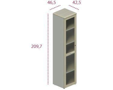 Medidas armario alto estrecho con puerta de cristal