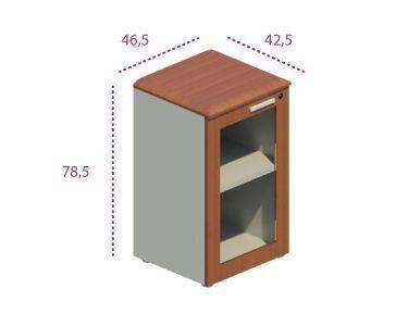 Medidas armario bajo estrecho con puerta de cristal series Benelux y Líder