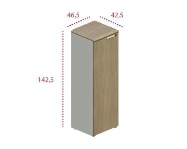 Medidas armario mediano estrecho con puerta series Benelux y Líder