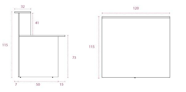 Medidas mostrador recto de 120 cm. en stock