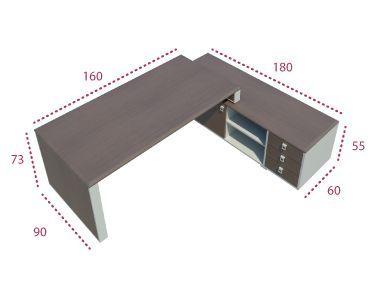 Medidas mesa de dirección con mueble auxiliar de la serie Líder