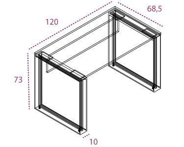 Medidas mesa auxiliar de 120 x 60 cm. Serie Omega