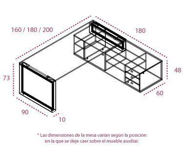 Medidas mesa Omega con mueble auxiliar