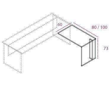 Medidas ala auxiliar de la mesa de la serie Color