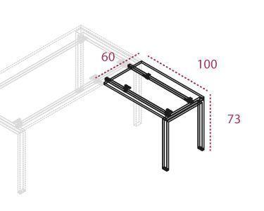 medidas ala auxiliar de la serie Pórtico de 100 x 60 cm. stock