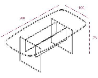 Medidas mesa de reunión rectangular de la serie Color