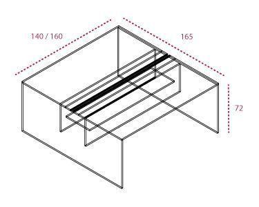 Medidas Bench o isla de trabajo pie panel sin separador.