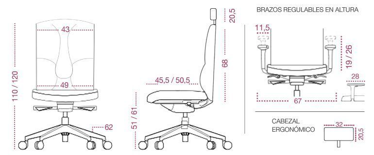 Medidas sillón ergonomico business
