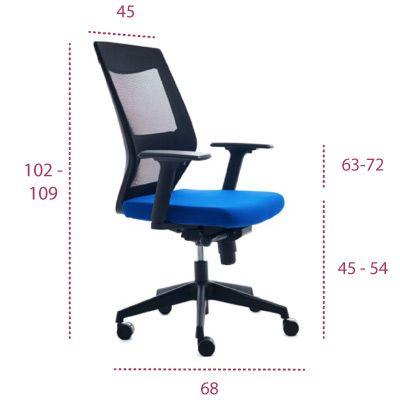 Medidas silla de oficina red de rocada 908